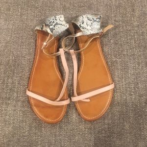 Black, white, pink and metallic gold sandals